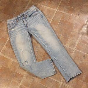 American Eagle cropped artist jeans size women's 2